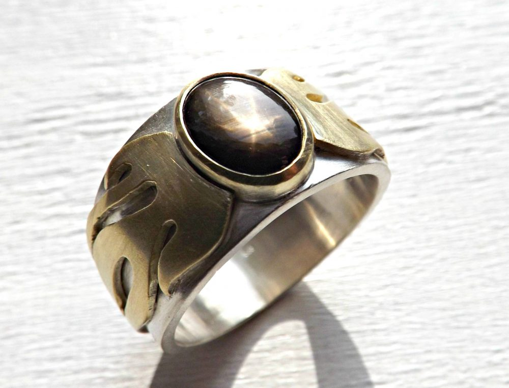 Gold Star Sapphire Ring, Cool Mens Promise Ring Silver, Wedding Band Two Tone Statement Flames, Unique