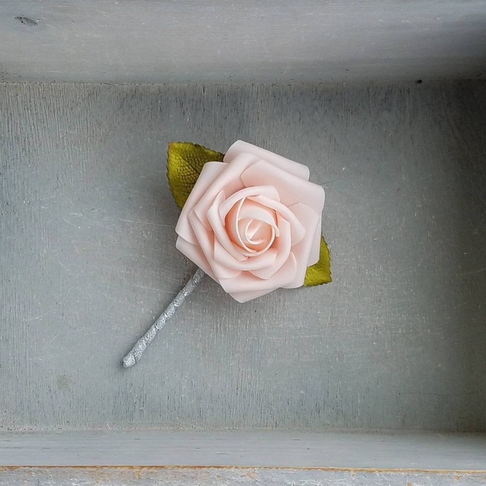 Blush Rose & Silver Wedding Boutonnieres, Wedding Boutonniere, Pink Rose Elegant Boutonniere, Blush Boutonniere