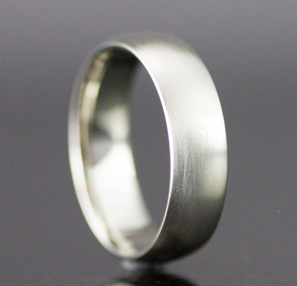 Mens White Gold Wedding Ring - 6mm Wide Half Round Band 14K White, Yellow Or Rose
