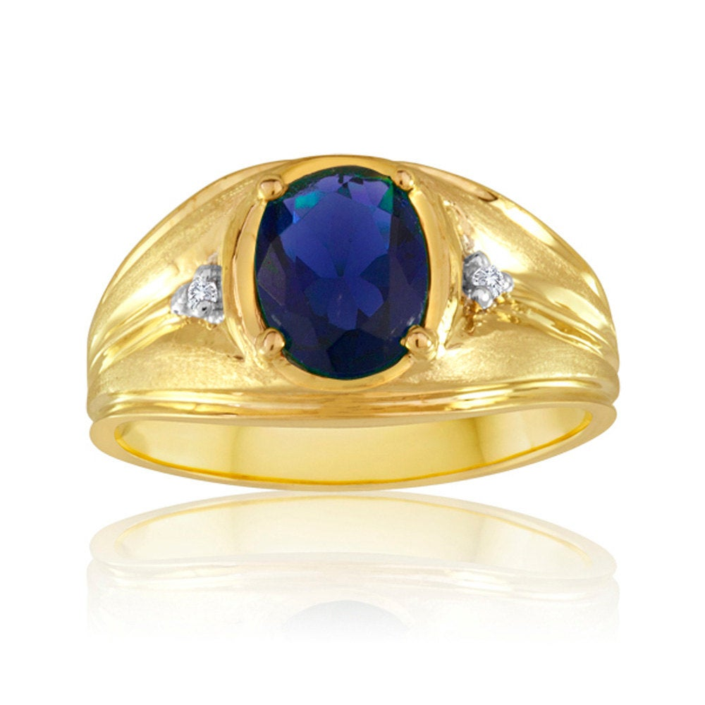 10K Yellow Gold Men's Ring With Synthetic Blue Sapphire & Diamond Acents