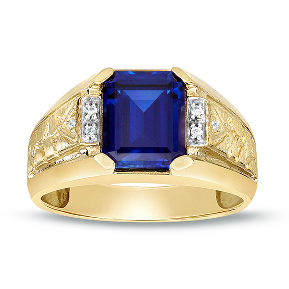 10K Solid Gold Ring, Blue Sapphire Ring, Lab Created Ring, Solitaire Mens Diamond Gemstone Natural Ring
