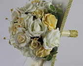 Artificial Champagne Ivory wedding bouquet singles and packages