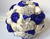 Blue and ivory satin rose bouquet, silk rose bouquet, flower with brooches and rhinestones, bridal wedding bouquet, bridesmaid flower