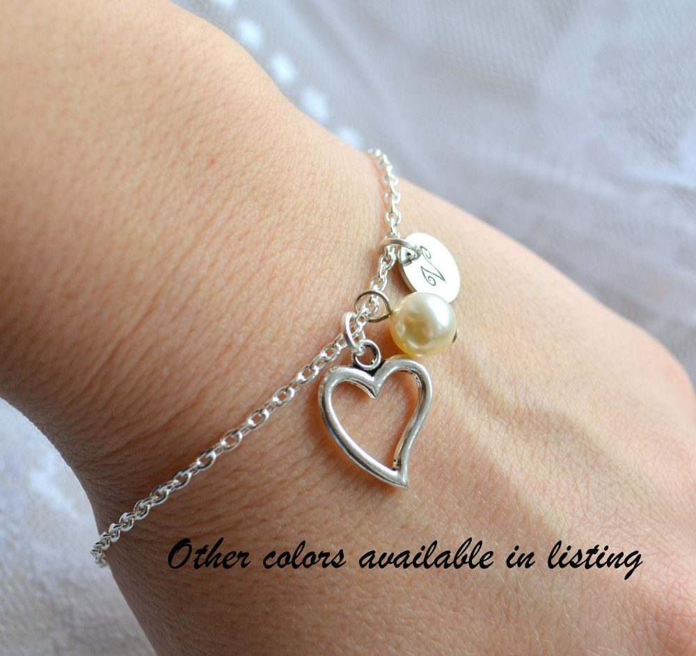 9 Sets Of Bridesmaid Gifts Personalized Jewelry Set Heart Bracelet Wedding Bridesmaid Gift