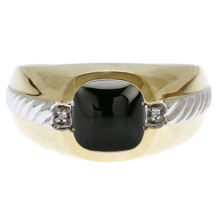 Men's Black Onyx Diamond Accent Ring in Two Tone Gold, Mens Gemstone Rings, Rings For Men, Jewelry, Gold Birthstone