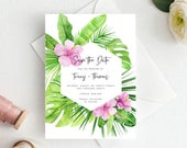 Save the Date Template, Tropical, Printable, Wedding Date Card, Electronic Invitation, Editable, digital Download, DIY, Templett, TR63K