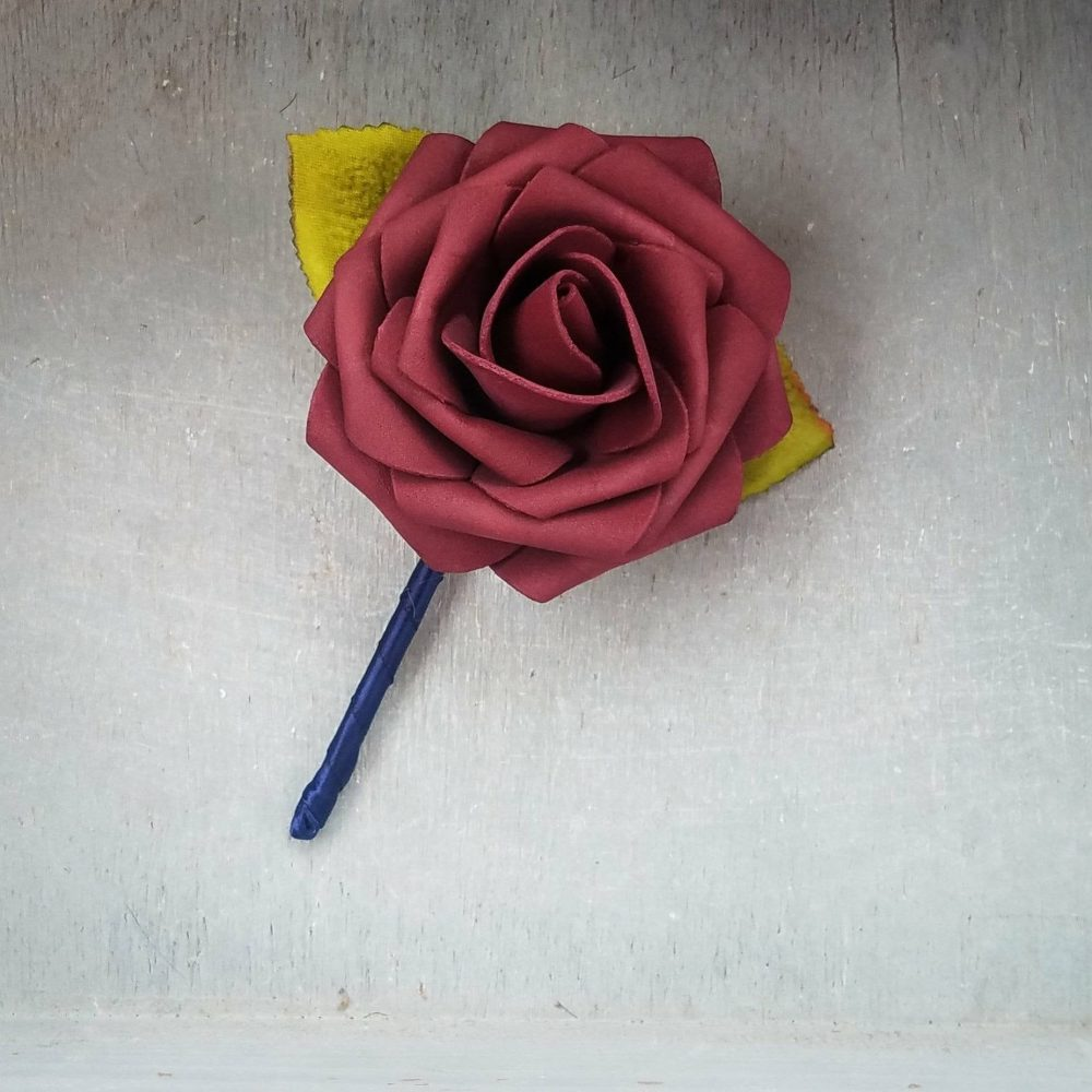 Burgundy Rose & Black Wedding Boutonniere, Wedding Boutonniere, Elegant Burgundy