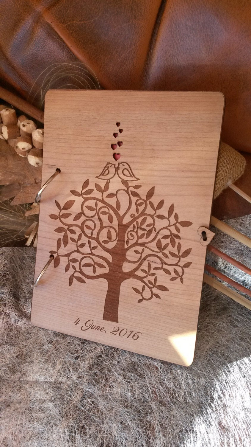 Wedding Guest Book/Love Birds Wooden Rustic Unique Modern Tree Guestbook