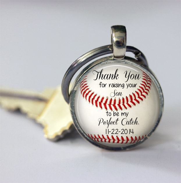 "Gift For Father, Mother Of Groom -30 Mm Personalized Baseball Keychain Wedding Date, ""Thank You Raising Your Son To Be My Perfect Catch"""