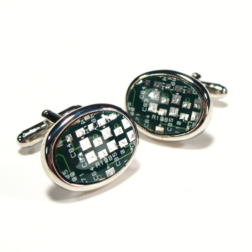 Christmas Gift Circuit Board Cufflinks Green For Husband Oval Engineer's Electronic Accessory