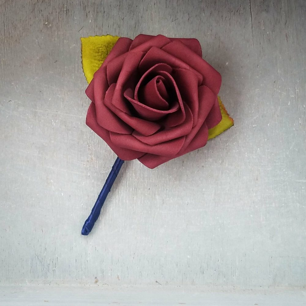 Burgundy Rose & Navy Wedding Boutonniere, Wedding Boutonniere, Burgundy