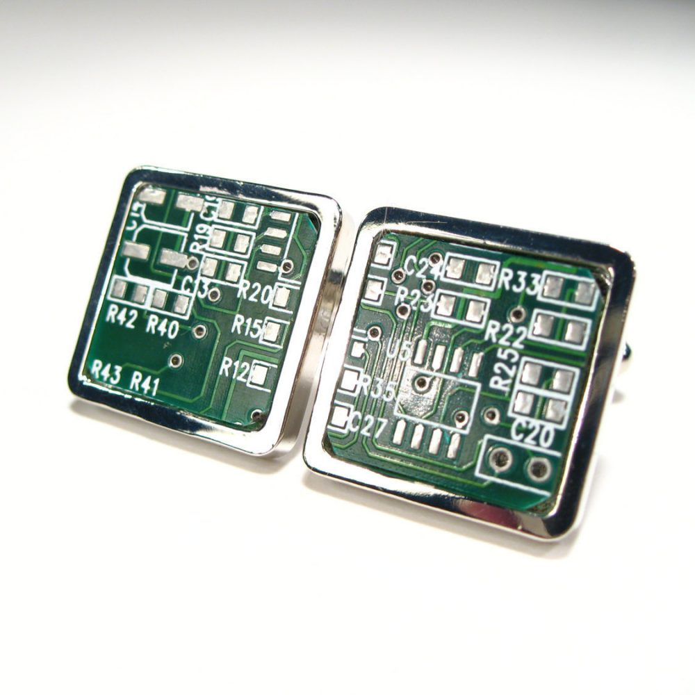Circuit Board Cufflinks Unique Handmade Gift Men's Accessory Geek Husband Male Motherboard For Him
