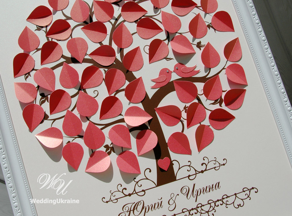 Coral Wedding Guest Book Ideas - Love Birds 3D Tree Modern Alternative To Traditional Guestbook Ivory And