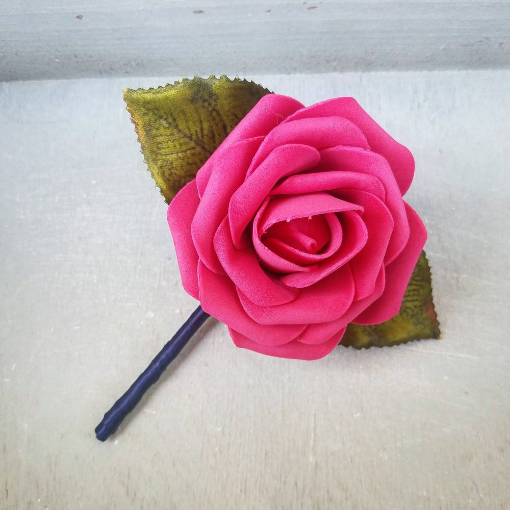 Hot Pink Rose & Navy Wedding Boutonniere, Blue Wedding Boutonniere, Elegant