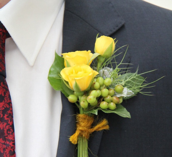 Yellow Rose Wedding Boutonniere For Men - Flower Groom Buttonhole