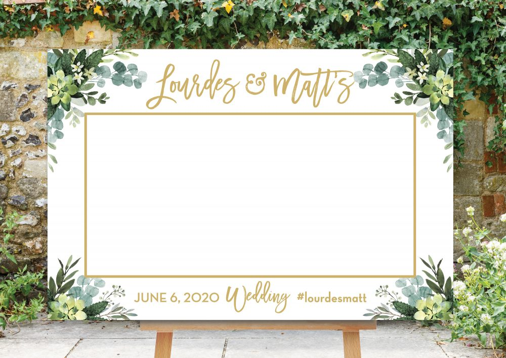 Wedding Photo Prop, Greenery Booth Frame, Decoration Selfie Horizontal, Bridal Shower, Picture Printable