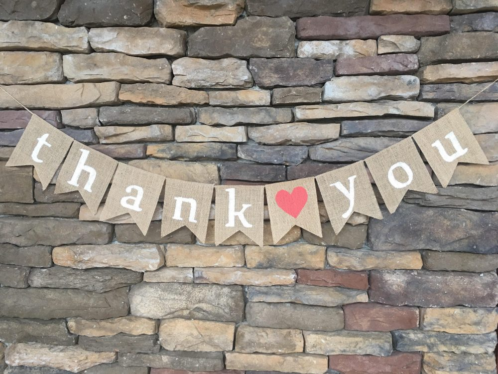 Thank You Banner, Thank Burlap Wedding Photo Prop, Sign, Bridal Shower Prop