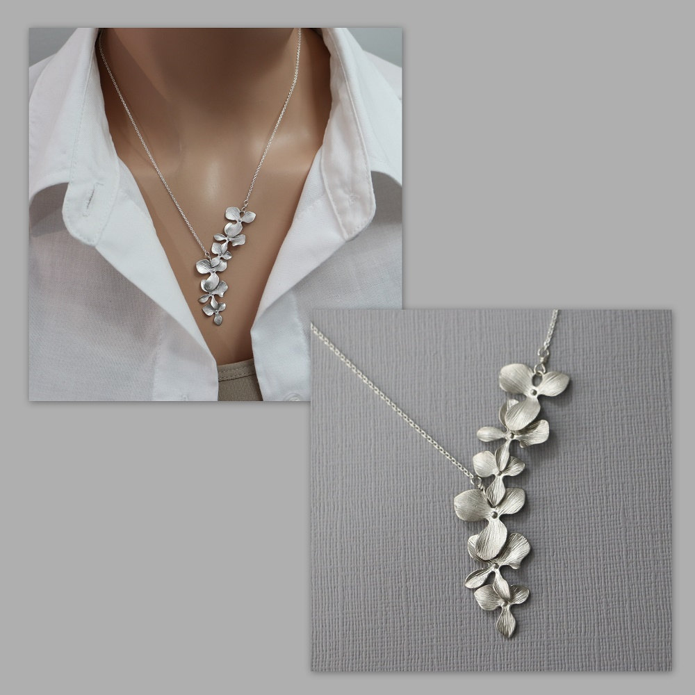 Cascade Orchid Necklace, Bridal Bridesmaid Wedding Mother Of The Groom Gift, Bride Gift