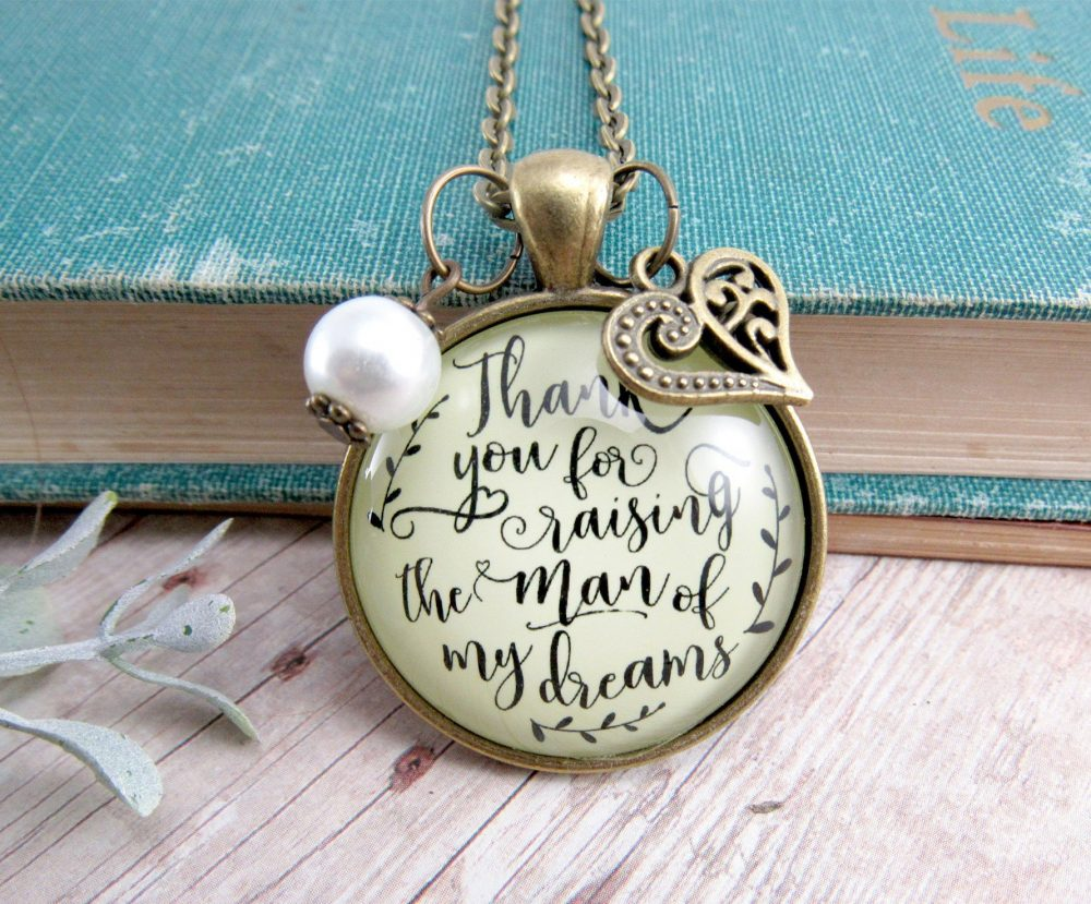Mother Of Groom Necklace | Keychain Thank You For Raising The Man Of My Dreams Wedding Gift Future in Law Jewelry Parents Mom