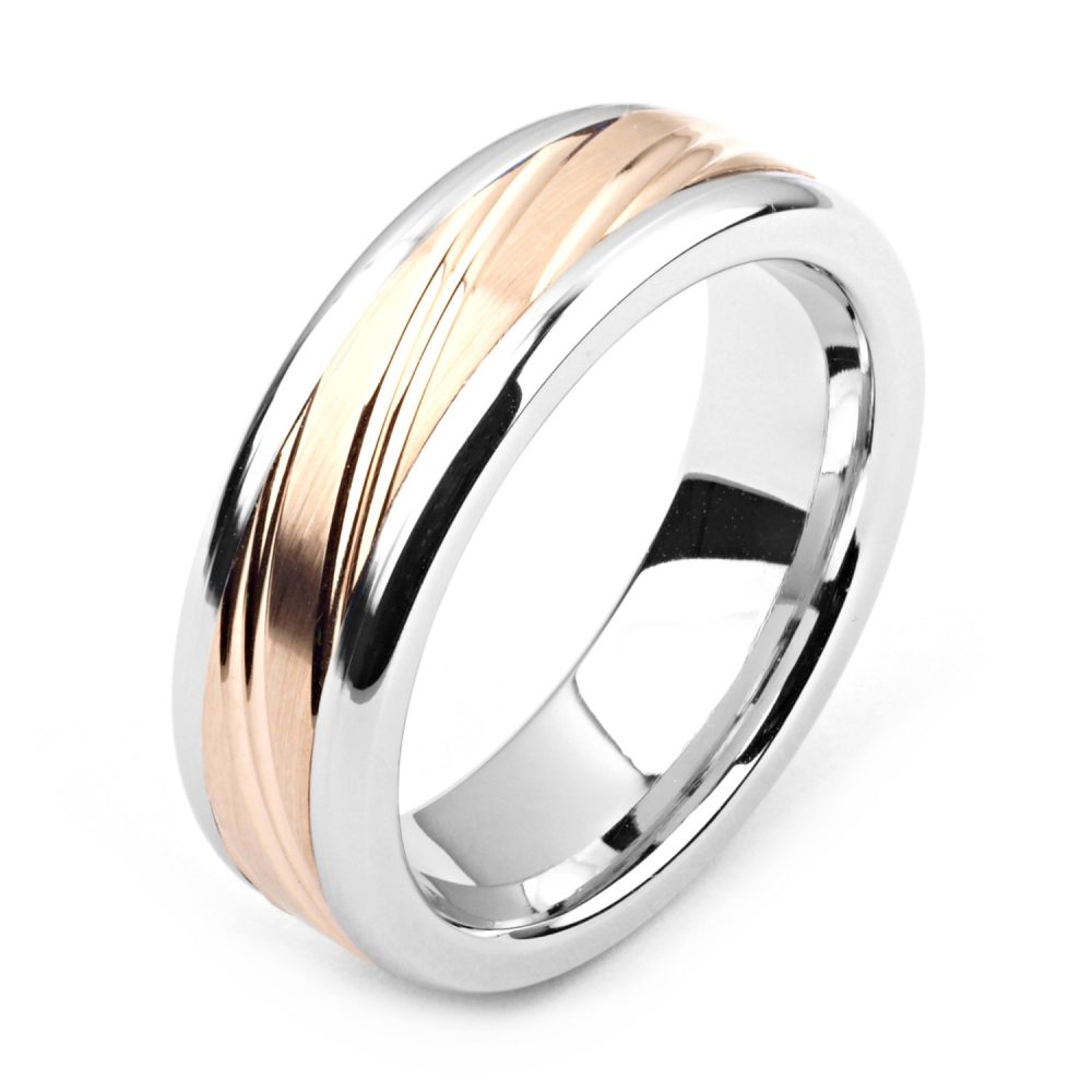 Men's Cobalt Ring 7mm Wide Two-Tone & 14K Rose Gold | Solid, Not Plated Wedding Band Fashion