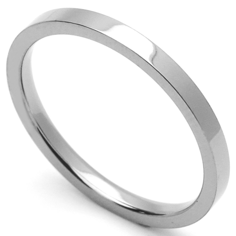 Custom Engraving Men Women Fashion 2mm Comfort Fit Stainless Steel Ring Wedding Band Classic Flat Ring(Dctrss302