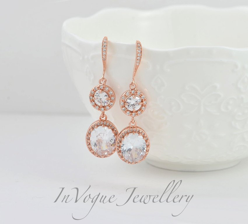 Crystal Bridal Wedding Earrings, Rose Gold Teardrop Brides Halo Style Earrings Jewellery, Dangle Drop Bridesmaids