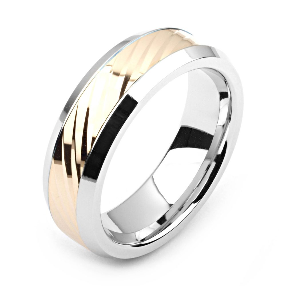 Men's Cobalt Ring 7mm Wide Two-Tone & 14K Yellow Gold | Solid, Not Plated Wedding Band Fashion Ring