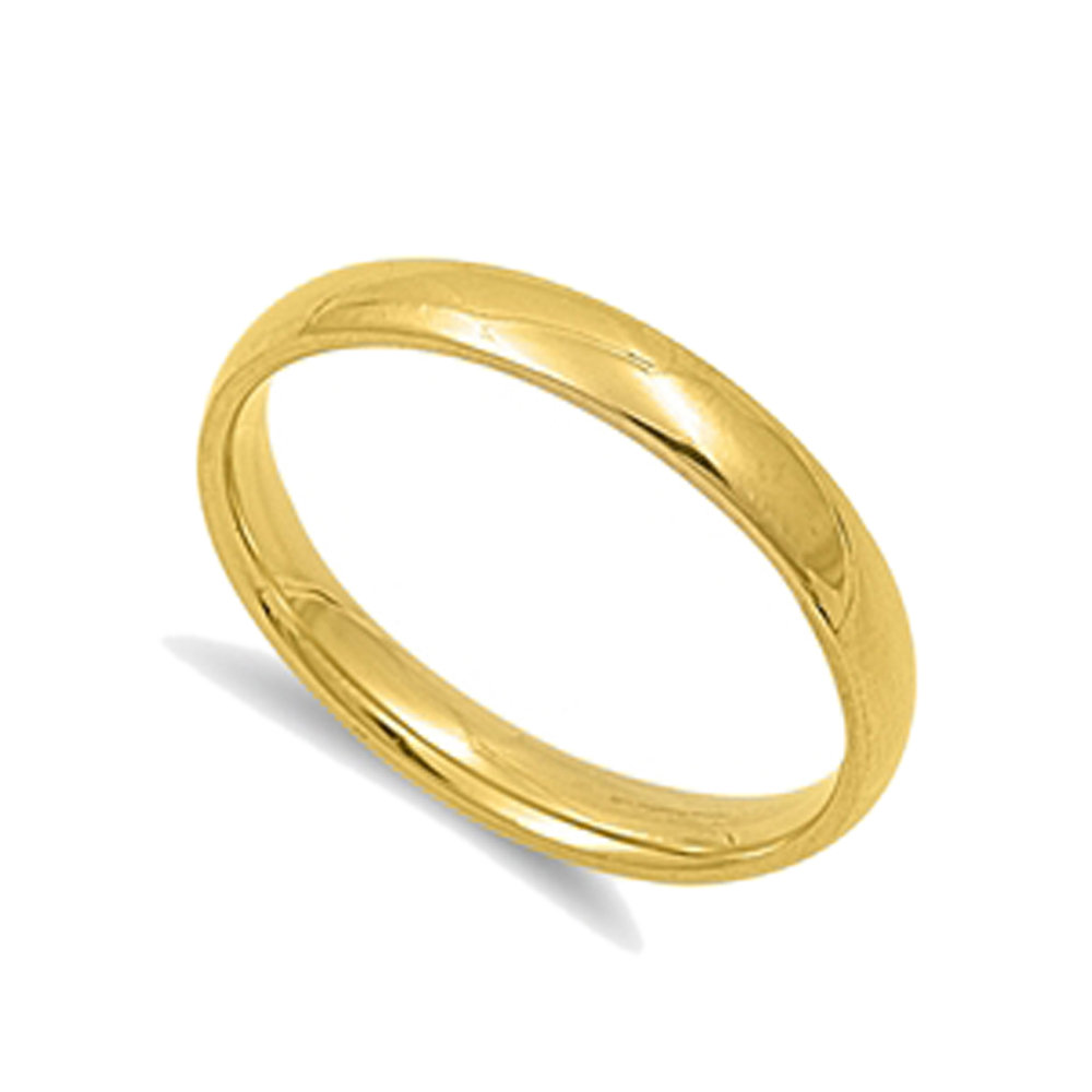Custom Engraving Men Women Stainless Steel Ring Gold Tone Domed Classic Comfort Fit Wedding Band(Sntsr1176-Opt