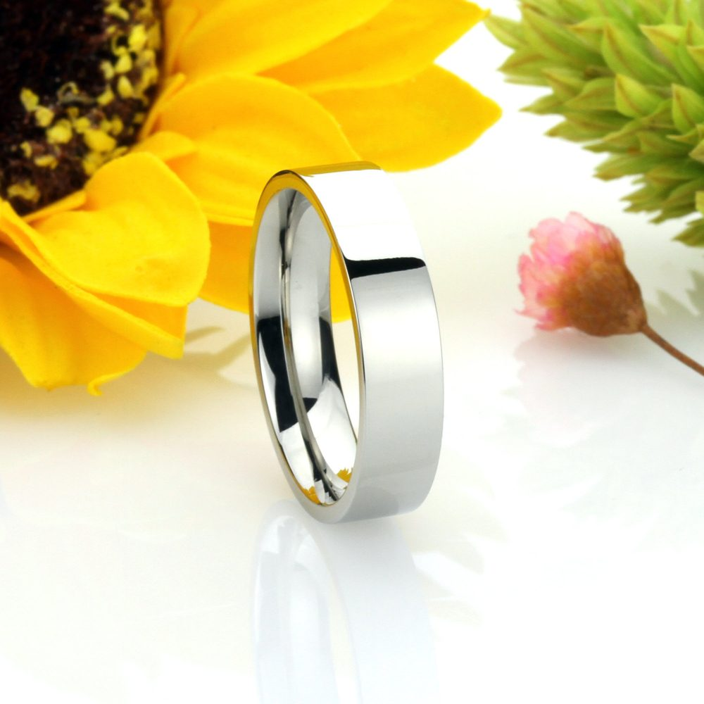 Custom Engraving Men Women Fashion 5mm Comfort Fit Stainless Steel Ring Wedding Band Classic Flat Ring(Dctrss305