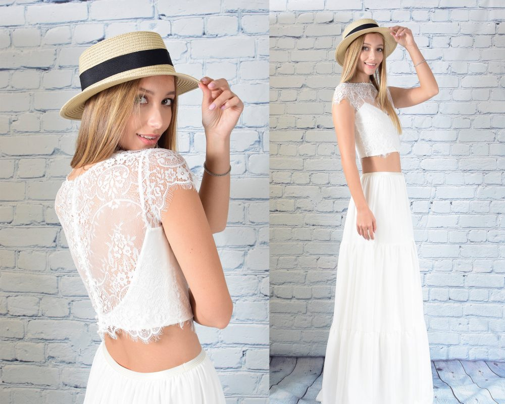 Lace Top Wedding Dress Chiffon Dresses Boho Bohemian Vintage Gown, Beach Casual Bridal Hippie White Ivory Country Gowns