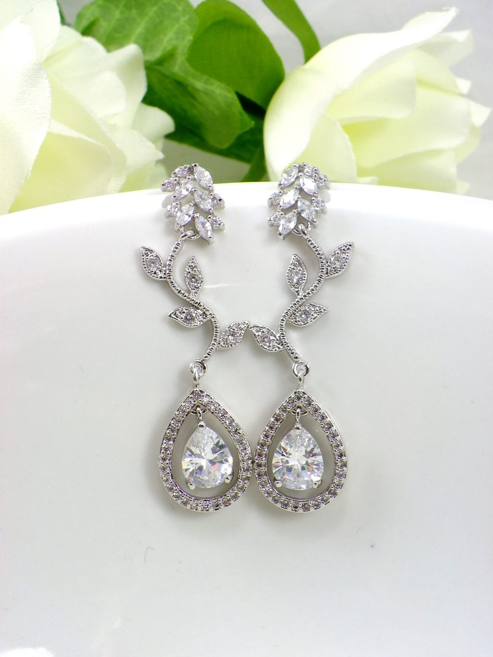 Cubic Zirconia Vine Teardrop Earrings Sparkly White Crystal Dangle Bridal Accessories Cz Bridal Wedding Earring