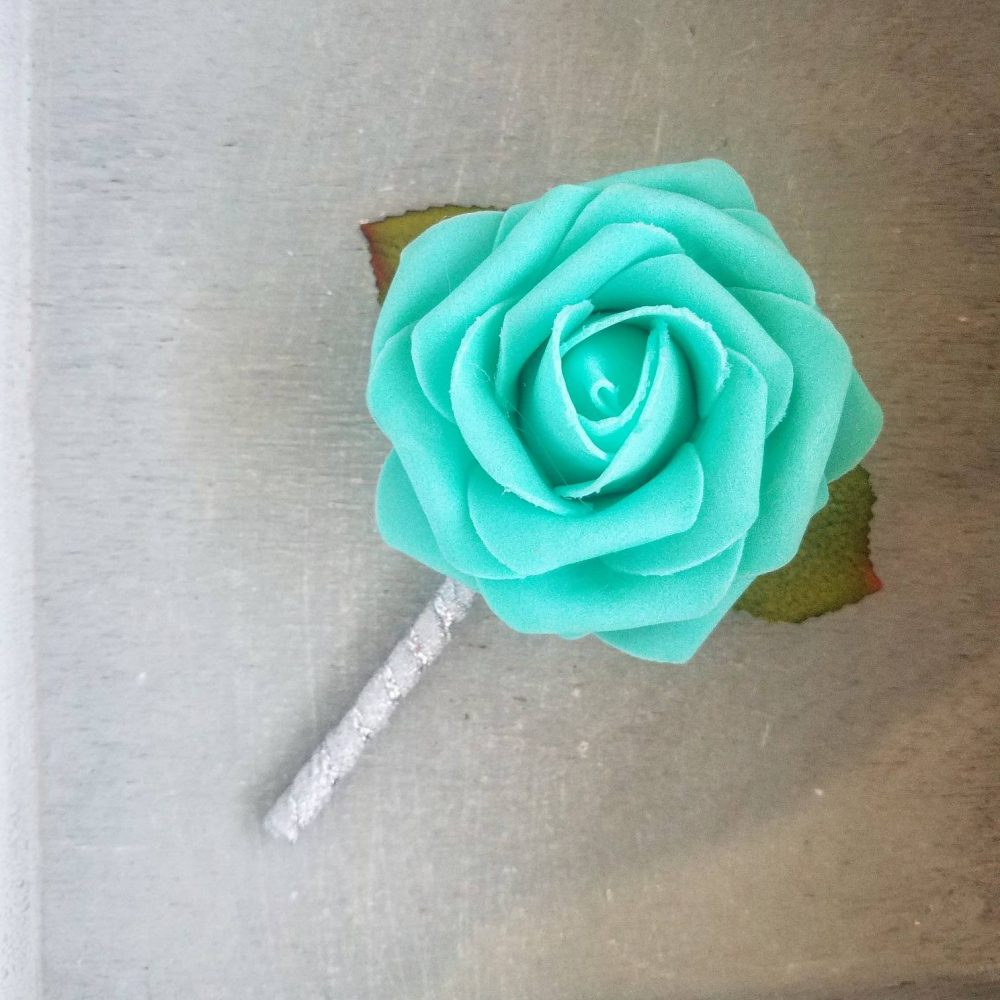 Robin's Egg Blue Rose & Silver Wedding Boutonnieres, Wedding Boutonniere, Rose Elegant Boutonniere, Robin's