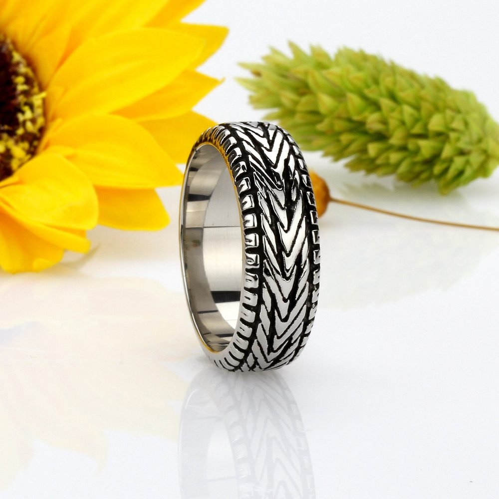 Custom Engraving 9mm 316L Stainless Steel Ring Black Color Polish Oxidized Tire Band/Gift Box(Brsr-990-N