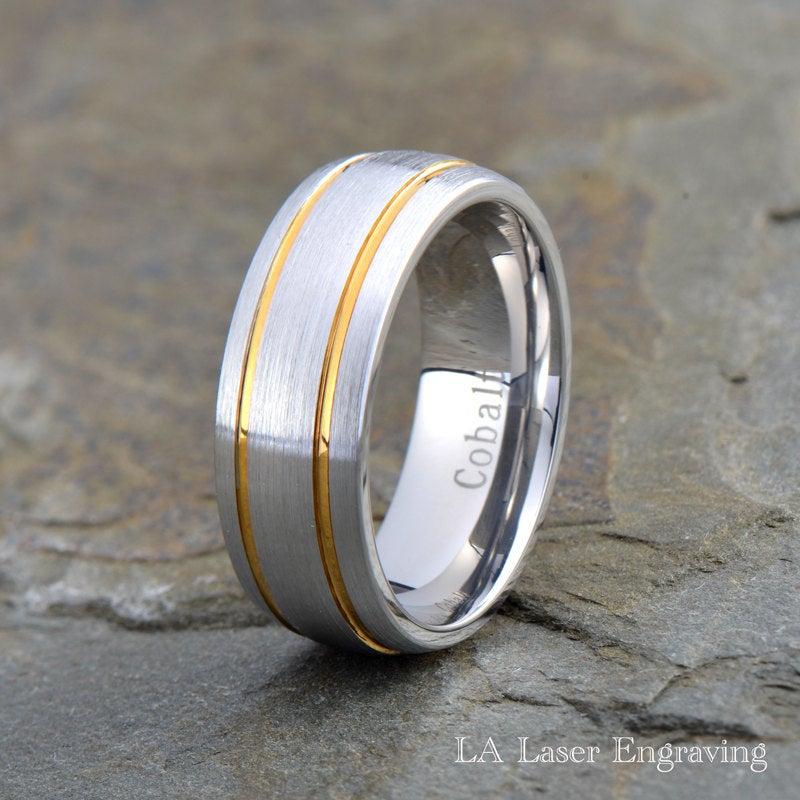 Cobalt Wedding Band, Mens 18K Yellow Gold, Ring, Custom Made, Rings, Bands, Domed, Round, 8mm, Handmade, Brushed, Size