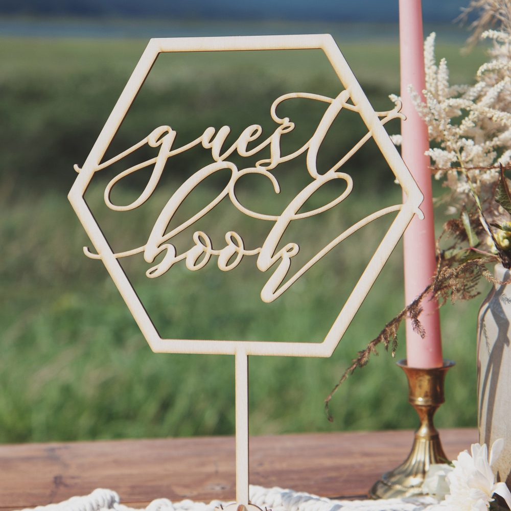Wooden Guest Book Sign, Wedding Geometric Wedding Decor, Rustic Wood Sign