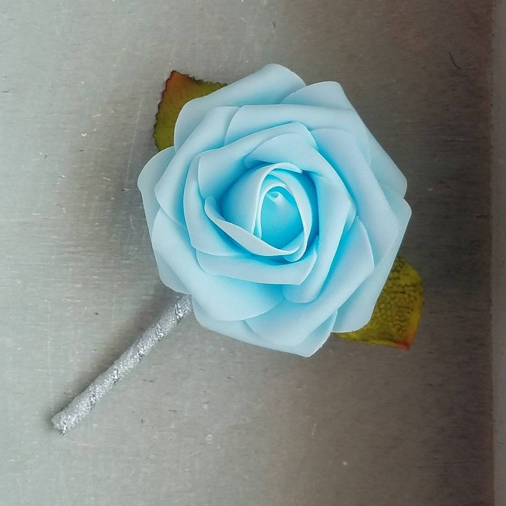 Baby Blue Rose & Silver Wedding Boutonnieres, Wedding Boutonniere, Rose Elegant Boutonniere, Baby Boutonniere