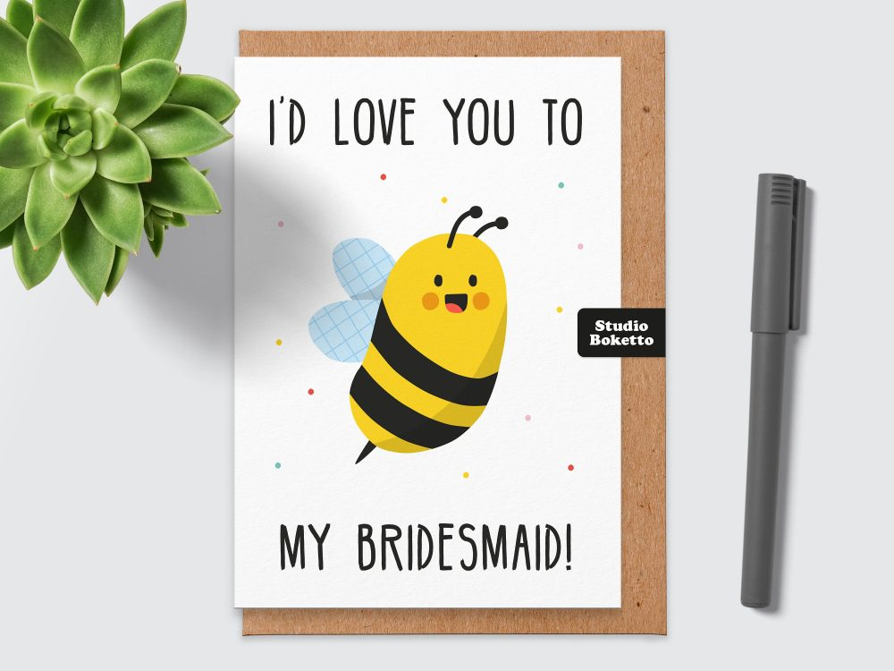 Funny Bridesmaid Card.bee My Bridesmaid.bumblebee.bridesmaid Card Funny.pun Card.for Sister.best Friend.maid Of Honour.card For