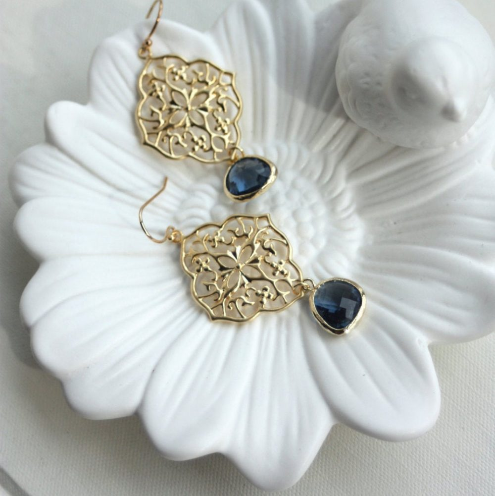 Navy Blue Earrings, Something Wedding, Bridal Wedding Earrings & Gold