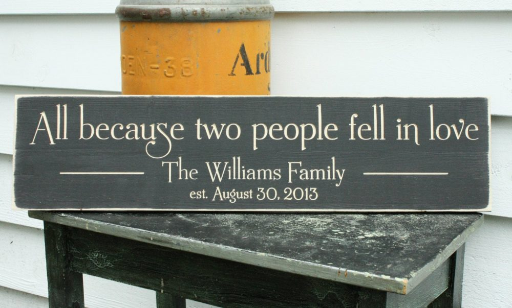 All Because Two People Fell in Love | 8x30 Personalized Family Name Established Date Wedding Carved Rustic Wooden Sign
