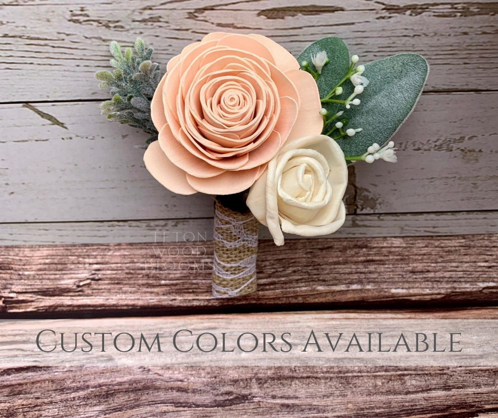 Wood Flower Blush Boutonniere/Rustic Bridal Bridesmaid Bouquet Wooden Sola Flowers White Cream Ivory