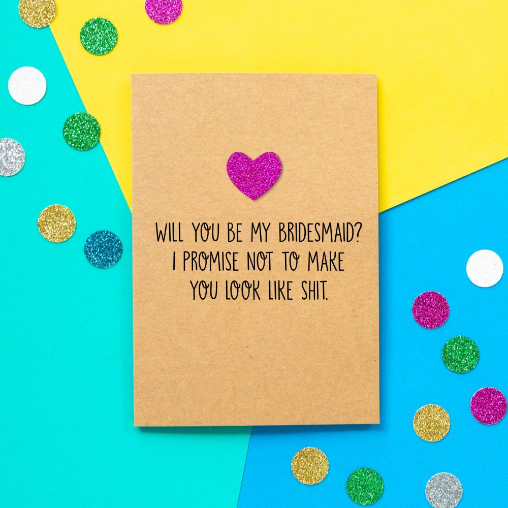Funny Bridesmaid Card | Will You Be My Bridesmaid? I Promise Not To Make You Look Like Shit