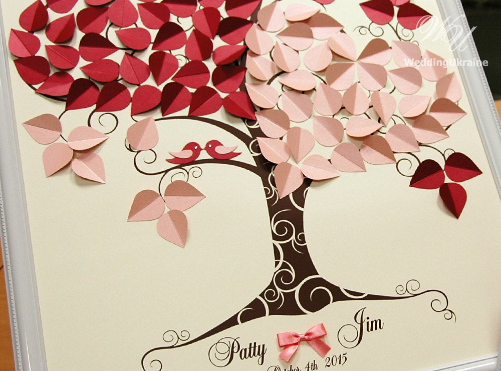 Wedding Guest Book Ideas - Two Hearts & Love Birds Tree Ivory-Marsala-Blush-Peach-Pink Modern Alternative To Traditional Guestbooks