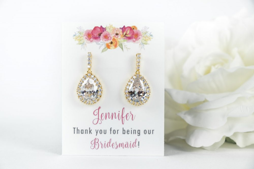 Gold Teardrop Earrings, Yellow Bridesmaid Proposal, Wedding, Bridal Wedding Earrings