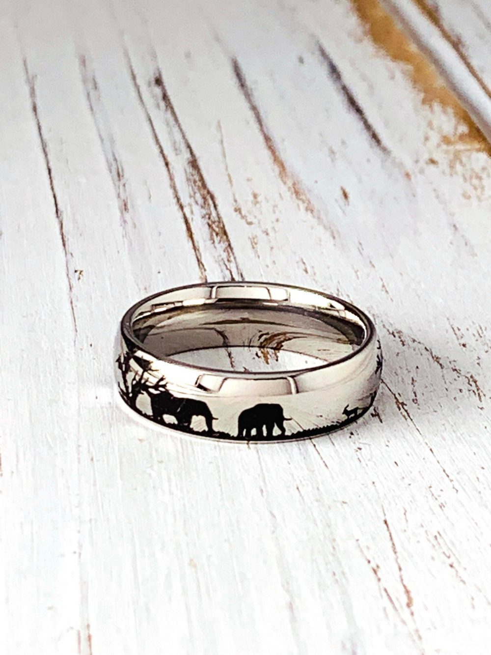 Engraved Africa Animals On Stainless Steel Ring/Stainless Band Ring/Add Text Inside Must Selected Out&inside