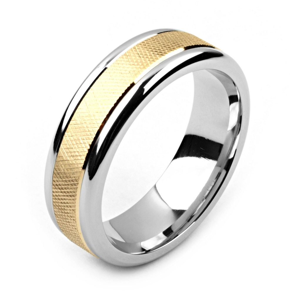 Men's Cobalt Ring 7mm Wide Two-Tone & 14K Yellow Gold | Solid, Not Plated Wedding Band Fashion