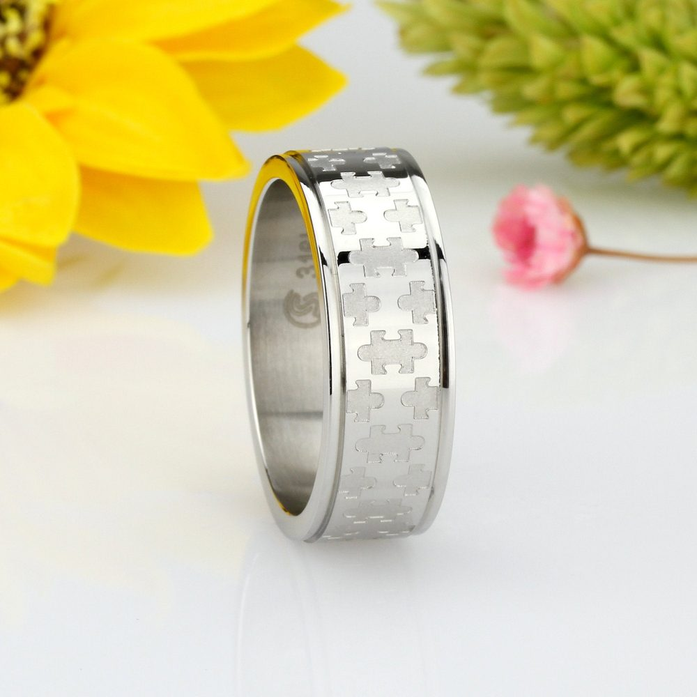 Custom Engraving Men Women Fashion 8mm Stainless Steel Ring Jigsaw Puzzle Patterned Wedding Band Ring(Dctrss028