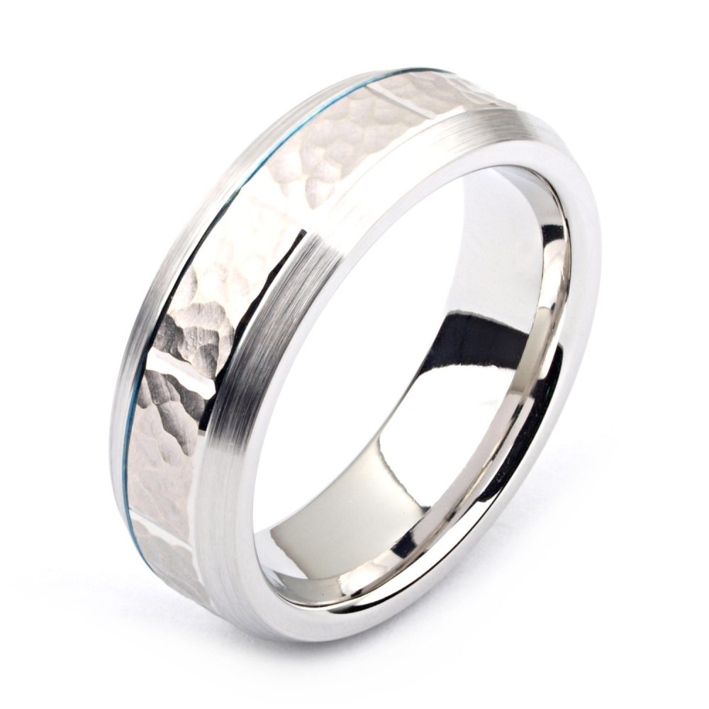 Men's Cobalt Ring 7mm Wide Two-Tone & 14K White Gold | Solid, Not Plated Hammered Wedding Band Fashion
