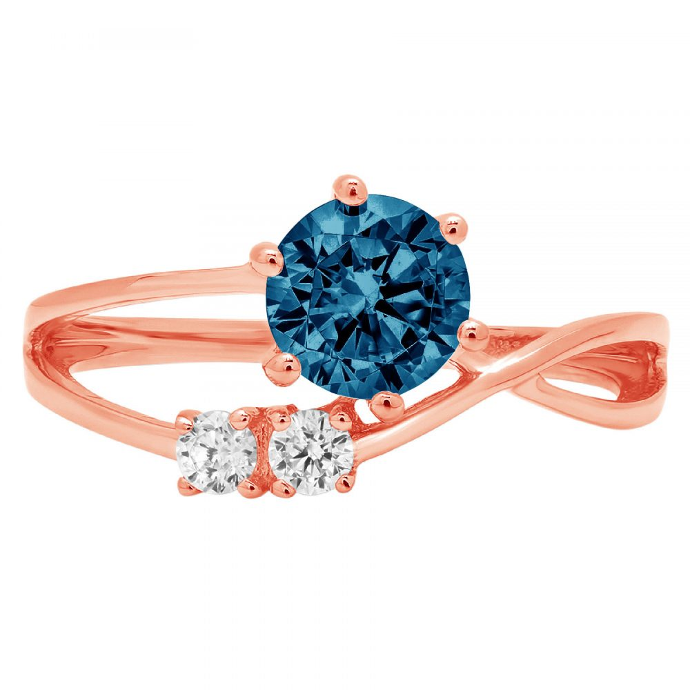 0.85Ct Round 3 Stone Love London Blue Topaz Statement Engagement Ring Real 14K Rose Gold