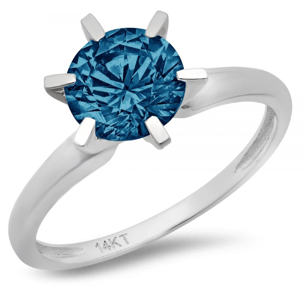 1.0 Ct Round Cut Natural London Blue Topaz Classic Wedding Engagement Bridal Promise Designer Statement Ring Solid 14K White Gold