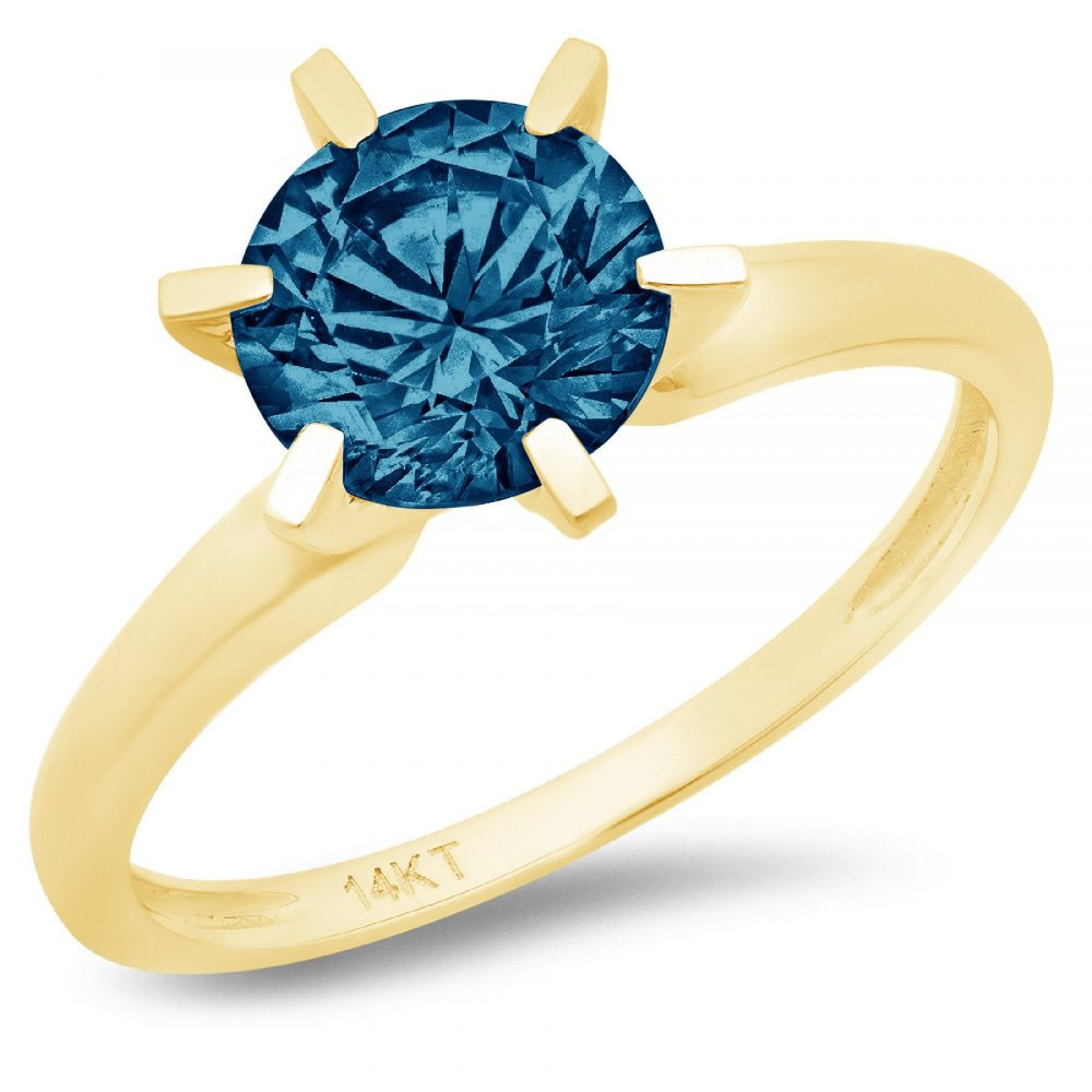 1.0 Ct Round Cut Natural London Blue Topaz Classic Wedding Engagement Bridal Promise Designer Statement Ring Solid 14K Yellow Gold